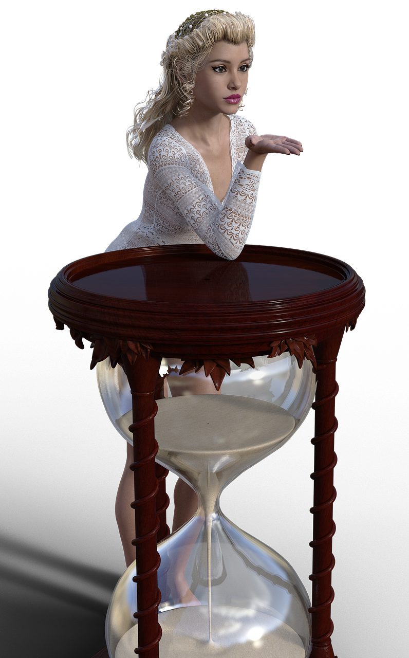 chica, reloj de arena, reloj