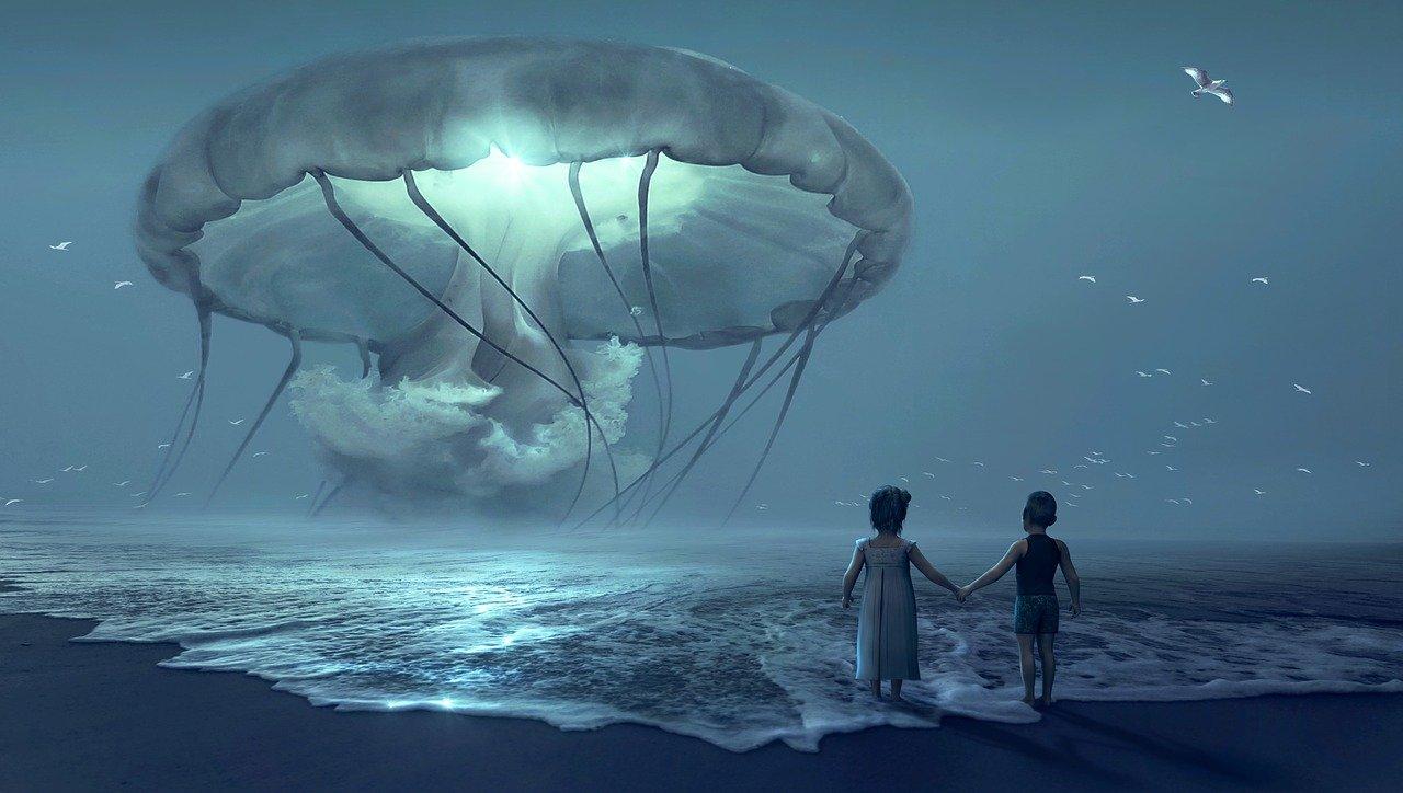 fantasía, playa, los niños