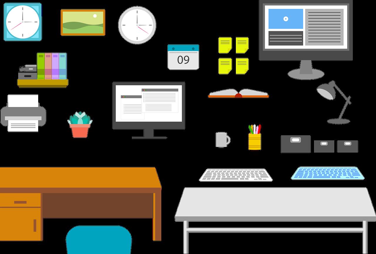 oficina, lugar de trabajo, reloj